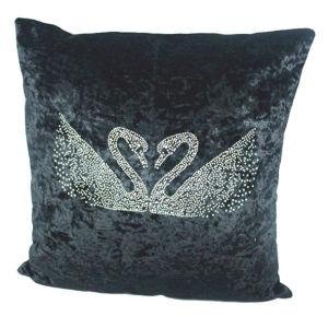 "18""X18"" Swan Rhinestone Stud Velvet Decorative Pillow Cover"