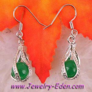 Elegant Green Jade Dangle Earrings 18kgp (PU006)