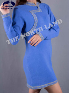 Ladies′ Cashmere Long Sweater with Mongolian Elements pictures & photos