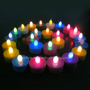 Plastic Pillar Battery Operated Multicolor Imitation Flameless LED Tealights pictures & photos
