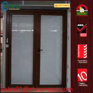Australia Standard UPVC French Door with Blinds Inside Double Glass pictures & photos