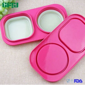 Square+Round Compartment Silicone Finger Food Box pictures & photos