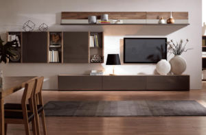 High Glossy Walnut Wood TV Stand Set for Home (WT-003)