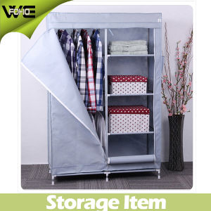 165mm Silver Gray Cloth Storage Metal Canvas Wardrobe pictures & photos