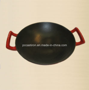 Cast Iron Wok Inside Black Enamel Outside Red Enamel pictures & photos