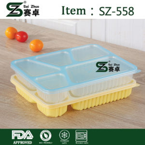 High Quality 5 Comparent Disposable Plastic Food Storage Tray pictures & photos