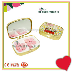 Delicate 2 Compartments With Mirror Small Metal Golden Pill Box pictures & photos