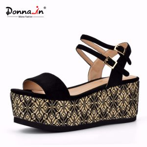 Lady Casual High Heels Flat Weave Platform Women Sandals pictures & photos