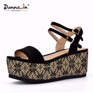 Lady Casual High Heels Flat Weave Platform Women Sandals