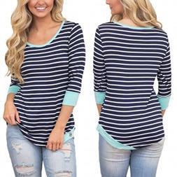 Fashion Women Leisure Casual Stripe T-Shirt Clothes Blouse pictures & photos