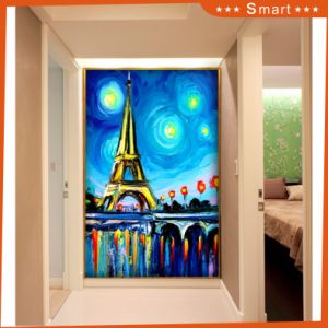 The Paris Tower Abstract Oil Painting on Canvas for Living Room Wall Decoration (Model No: Hx-4-059) pictures & photos