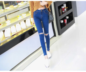 OEM Fashion Ladies High Waist Stretchy Skinny Denim Jeans pictures & photos