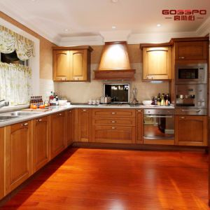 Modern Painting Solid Teak Wooden Kitchen Cabinet (GSP5-046) pictures & photos
