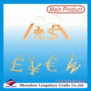 Custom Shape Plating Gold Metal Key Chains Custom Money Symbol Keychain pictures & photos