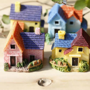 Miniature Resin Thatched House Fairy Garden Micro Landscape Ornament Home Decor pictures & photos