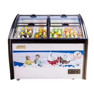 Four Toughened Coating Glass Doors Ice Cream Showcase pictures & photos