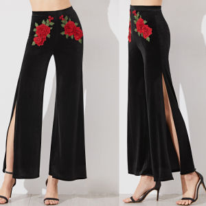 Fashion Women Leisure Casual Rose Flower Embroidery Side Split Pants pictures & photos