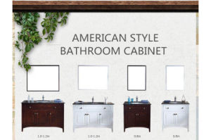 Wooden American Combined Ceramic Bathroom Cabinet Mirror Hand Basin pictures & photos