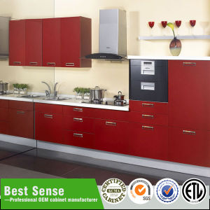Modern Red Lacquer Kitchen Cabinet Design with Lower Price pictures & photos