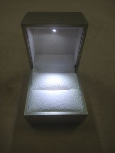 Champagne High Gloss LED Jewelry/Ring Plastic Box pictures & photos