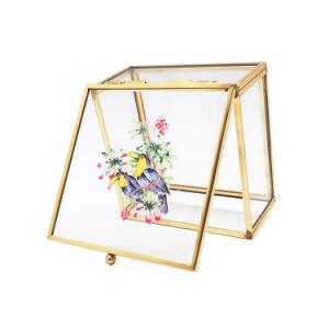 Custom Glass Golden Metal Glass Jewelry Box Jb-1063 pictures & photos