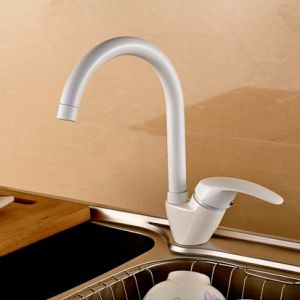 White Kitchen Faucet Mixers Deck Mounted 360 Degree Rotating pictures & photos
