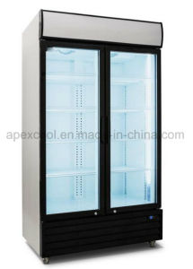 Supermarket Double Door Upright Beverage Freezer pictures & photos