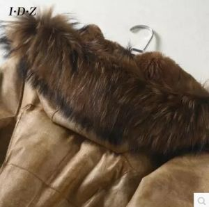 Real Rabbit Leather and Fur Coat with Raccoon Fur on Collar Women Long Style pictures & photos