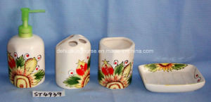 Delux Ceramic (dolomite) 4PCS Bathroom Set with Gift Box Packing pictures & photos