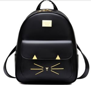 Cat Face Leather Backpack Teen Girl Shoulder Bag pictures & photos