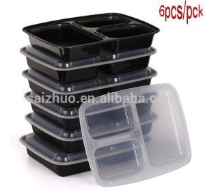 12-Pck 3-Compartment Stackable Disposable Plastic Food Container pictures & photos