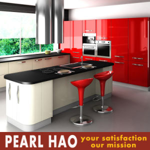 High Glossy Island Style Red Lacquer Kitchen Cabinet pictures & photos