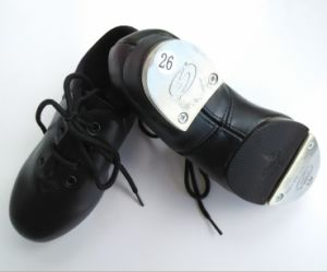 Black Leather Child′s Tap Shoes pictures & photos