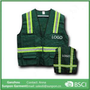 Green Colors Safety Jacket Vest with Reflective Stripes pictures & photos