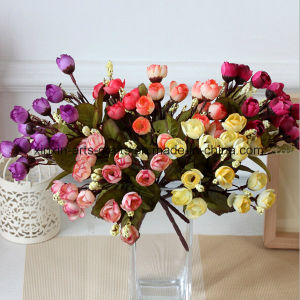 Cheap Artificial Mini Rose Bud Flower Bouquet with 5 Branch&15 Heads pictures & photos