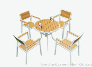 New Season Patio Rattan Wicker Grey Polywood Rectangle Table and 6PCS Dining Chair Outdoor Garden Furniture pictures & photos