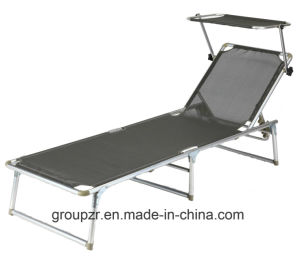Aluminium Foldable Beach Sunbed Lounge Chair with Shelter pictures & photos