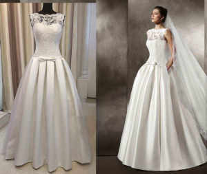 Satin 395 Pleat Floor Length Wedding Dress pictures & photos