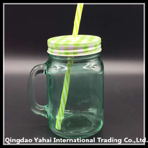 450ml Green Colored Juice Glass Mason Jar pictures & photos