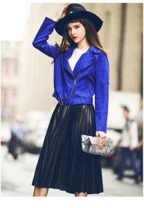 2016 Stylish Designer Blue Fashionoable Lady Leather Coat Woman a Type Short Jackets pictures & photos