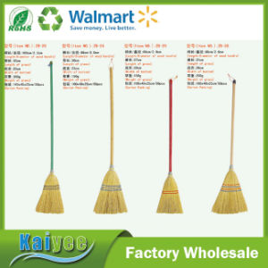 Gold Grass Bamboo Broom with Different Color Long Wood Handle pictures & photos