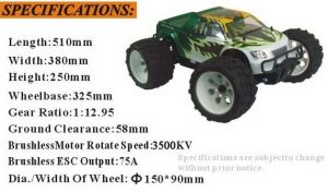Hsp 1/8 off Road Monster Truck Nokiter 2.4GHz RC Brushless 94062