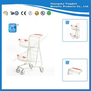 Double Car Shopping Basket Shopping Trolley for Supermarket