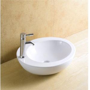 Round Shape Fashionable White Glazed Painting Ceramic Washing Sink