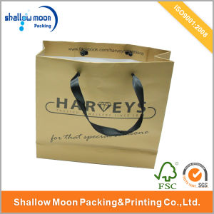 Customized Black Gift Paper Bag with Ribbon (QYZ090) pictures & photos