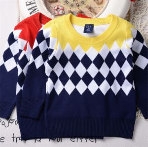 T1199 2015 High Quality Autumn 100% Cotton Thick Classical Prismatic Pattern Fashion Baby & Kids Clothes Boy Sweater Pullover Knitted Shirt pictures & photos