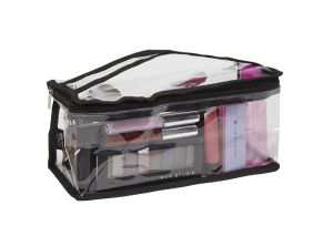 Custom Promotional Compact Clear PVC Makeup Bag (Black) pictures & photos