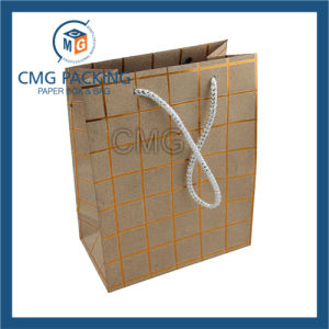 Golden Glitter Gift Bag with Strip Printed with Handle (CMG-MAY-022) pictures & photos