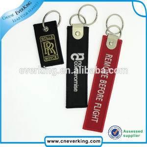 Custom Fabric Material Type Remove Before Flight Embroidery Key Ring pictures & photos
