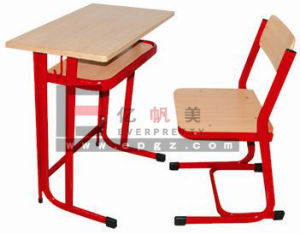 Antique School Furniture Fixed Single Student Wooden Desk & Chair pictures & photos